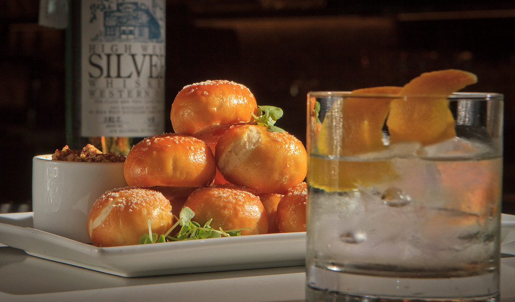 The Soft Pretzels with the High West Silver Whiskey cocktail at 25 Lusk Restaurant in San Francisco, Calif., is seen on August 4th, 2011.
