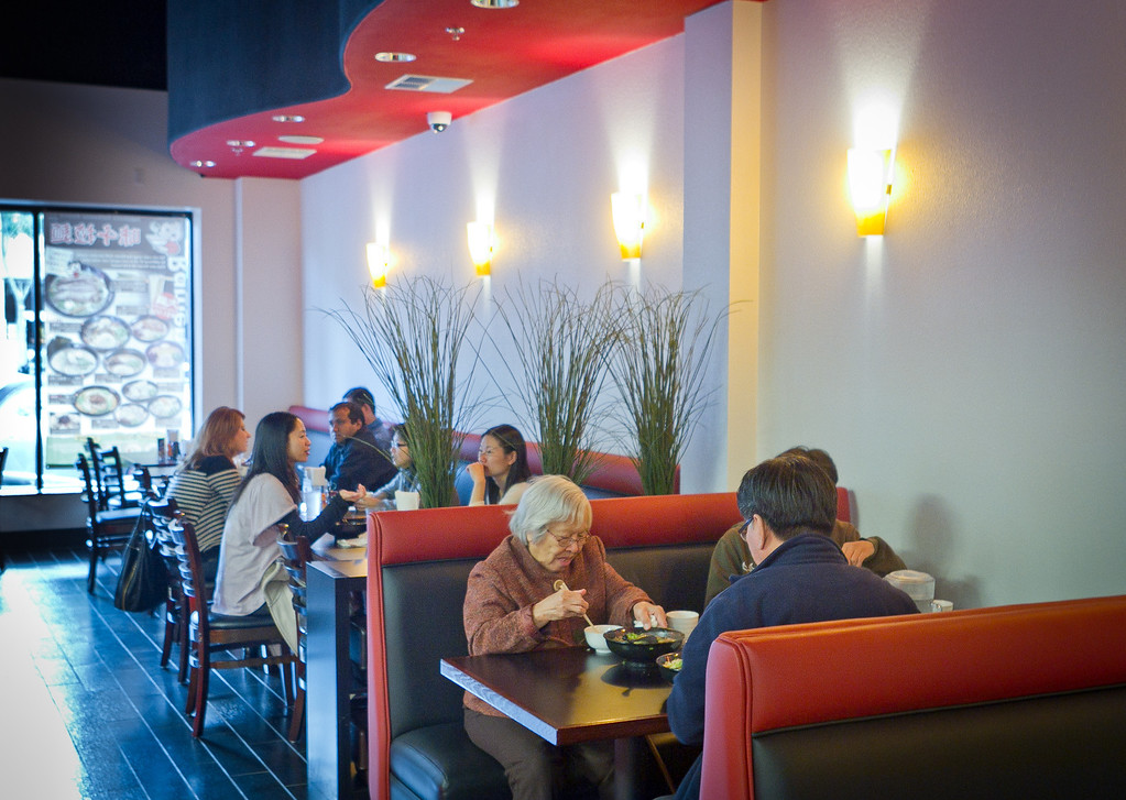 Diners enjoy lunch at Ajisen Ramen in San Mateo, Calif., is seen on Friday, November 4,  2011.