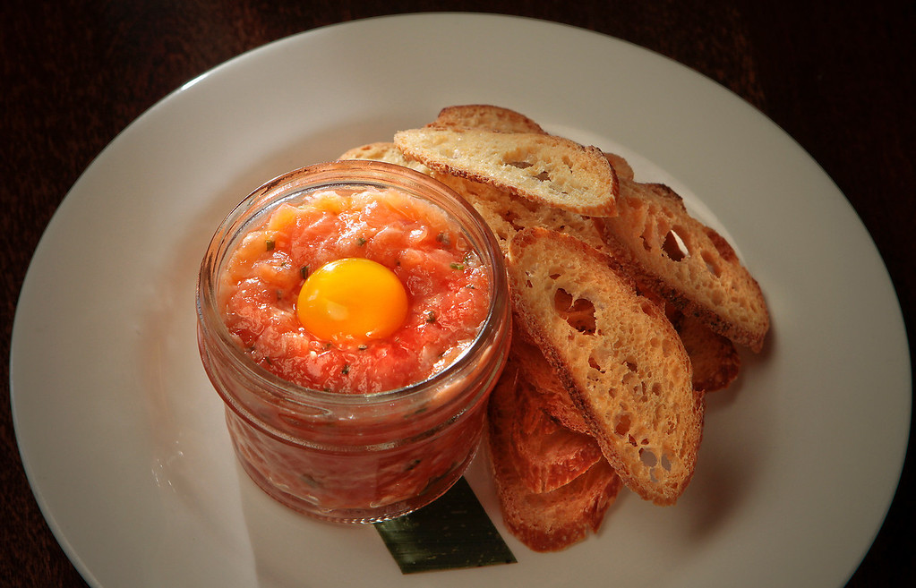 The Fish Tartare in a jar at Bar Terra in St. Helena, Calif., is seen on July 15th, 2011.