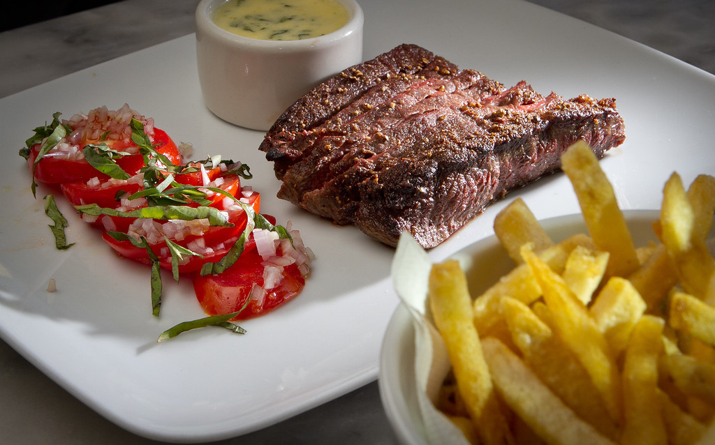 The seared Flat Iron Steak with French Fries at Birch St. Restaurant in Palo Alto, Calif.,is seen  on Saturday, October 29, 2011.