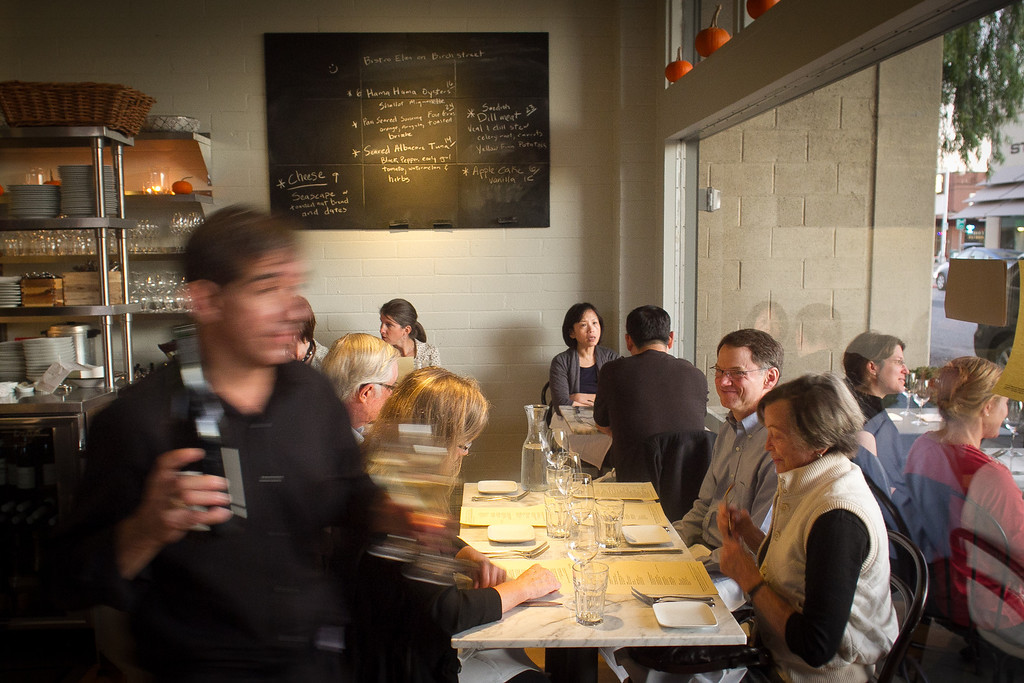 Diners enjoy dinner at Birch St. Restaurant in Palo Alto, Calif., on Saturday, October 29, 2011.