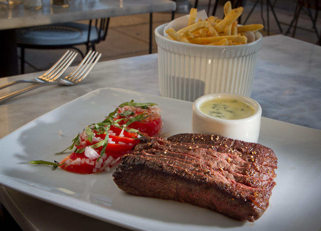 The seared Flat Iron Steak with French Fries at Birch St. Restaurant in Palo Alto, Calif., is seen on Saturday, October 29, 2011.