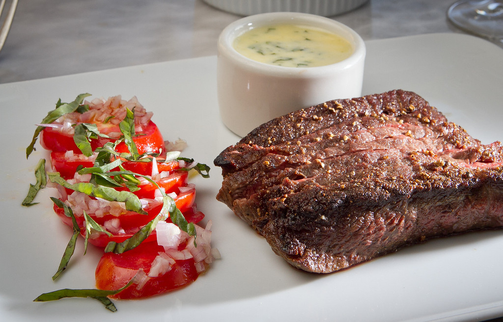The seared Flat Iron Steak at Birch St. Restaurant in Palo Alto, Calif., is seen on Saturday, October 29, 2011.