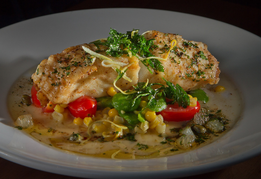 The Roasted Halibut at Bluestem Restaurant in San Francisco, Calif., is seen on August 9th, 2011.