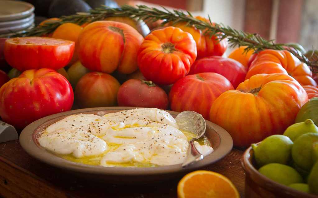 Heirloom Tomatoes with Burrata Cheese at Boot and Shoe Service restaurant in Oakland, Calif., is seen on September 7th, 2011.