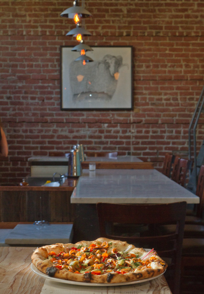 The Monterey Bay Squid Pizza at Boot and Shoe Service restaurant in Oakland, Calif., is seen on September 7th, 2011.