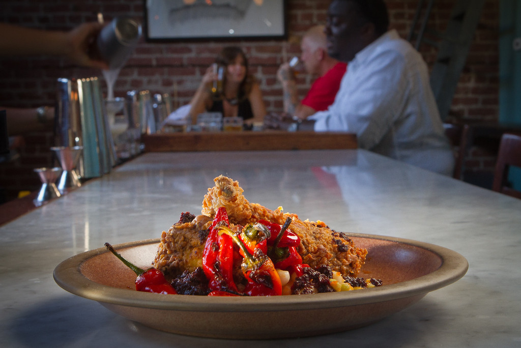 Buttermilk fried Rabbit with roasted peppers at Boot and Shoe Service restaurant in Oakland, Calif., is seen on September 7th, 2011.
