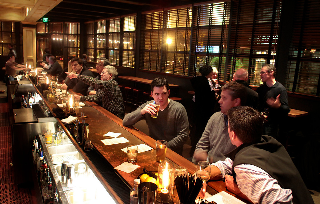 The bar at the Brick and Bottle restaurant in Corte Madera, Calif.,  is seen on Thursday, December 23,  2010.