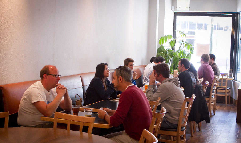 Diners enjoy lunch at Curry Up Now in San Mateo, Calif., on Wednesday,  October 12, 2011.
