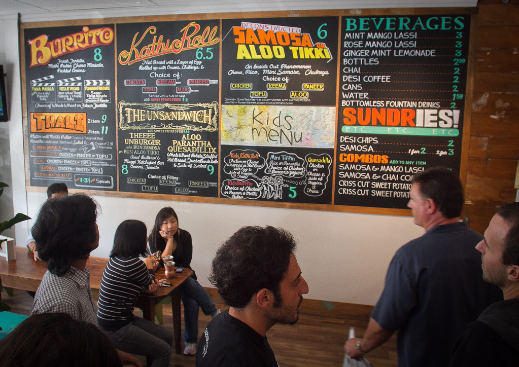The menu at Curry Up Now in San Mateo, Calif., is seen on Wednesday,  October 12, 2011.