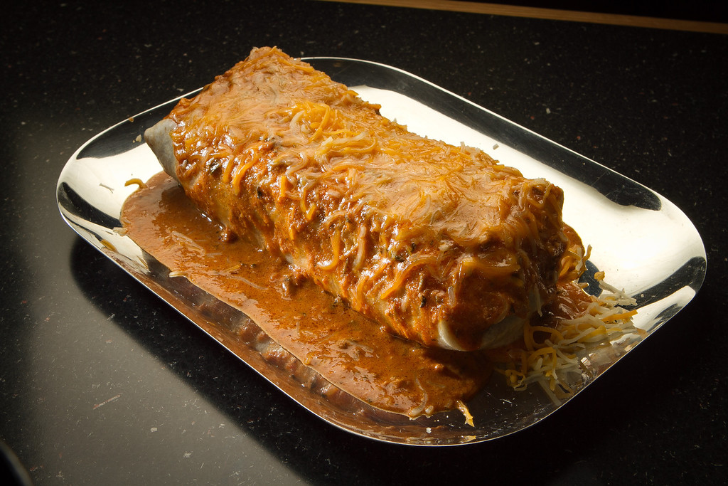 The Chicken Wet Burrito at Curry Up Now in San Mateo, Calif., is seen on Wednesday,  October 12, 2011.