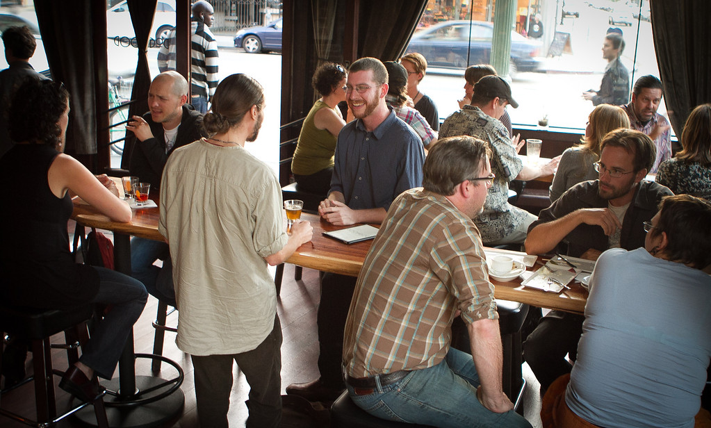 People enjoy happy hour at the Dogwood Bar in Oakland, Calif., on Friday,  September 30th, 2011.
