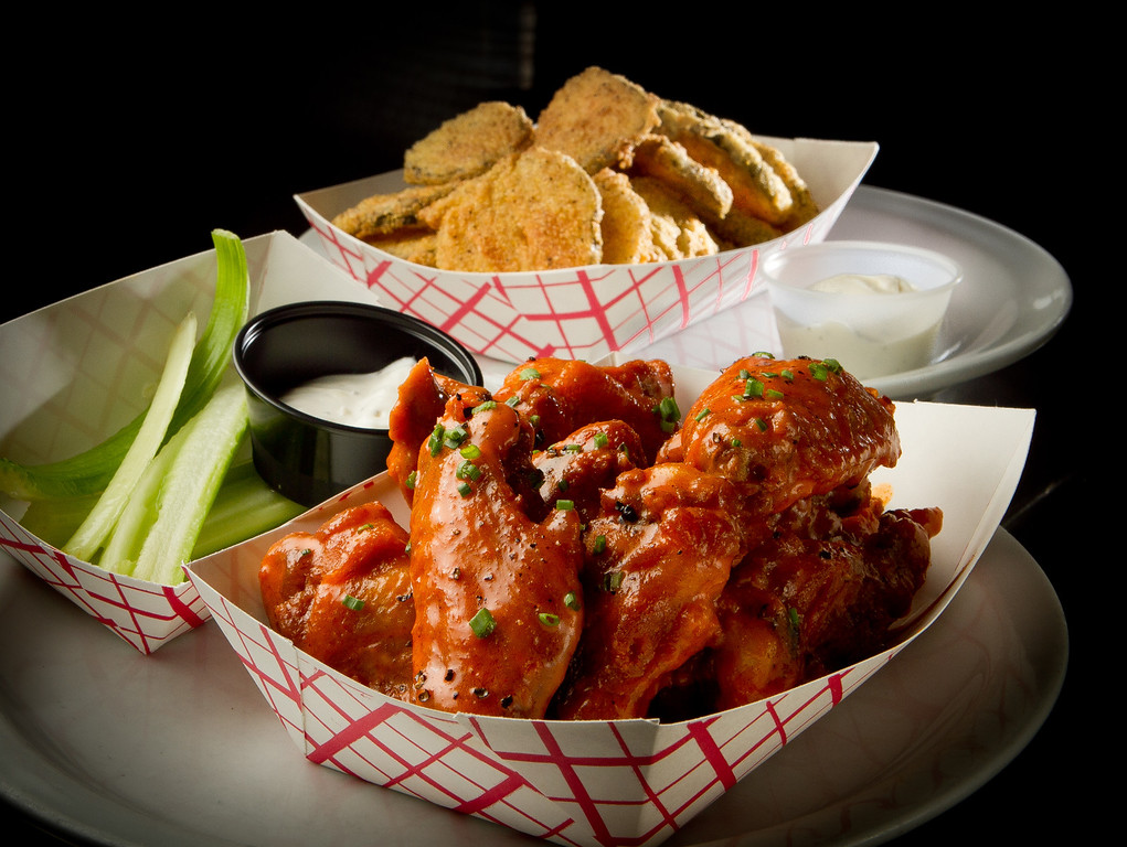 The Buffalo Chicken Wings with Fried Pickles at Giordano Brothers Restaurant in San Francisco, Calif., is seen on Sunday, October 23,  2011.