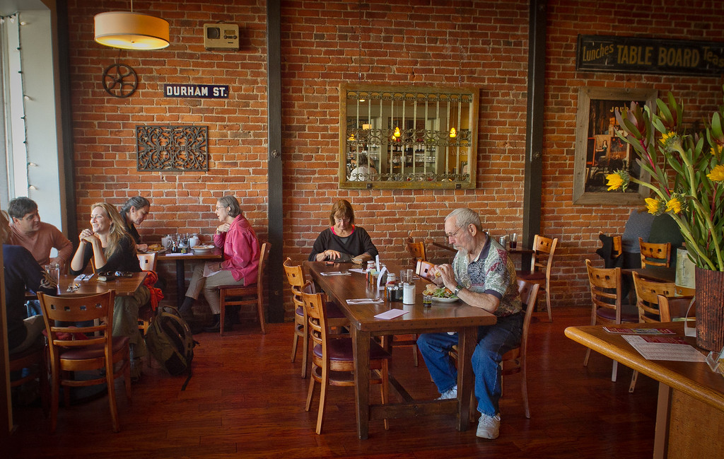 People enjoy lunch at the Gypsy Cafe in Sebastopol, Calif., on Thursday, December 1st,  2011.