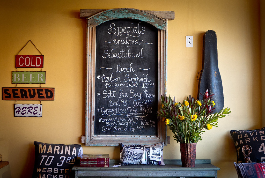 The specials board at the Gypsy Cafe in Sebastopol, Calif.,  is seen on Thursday, December 1st,  2011.