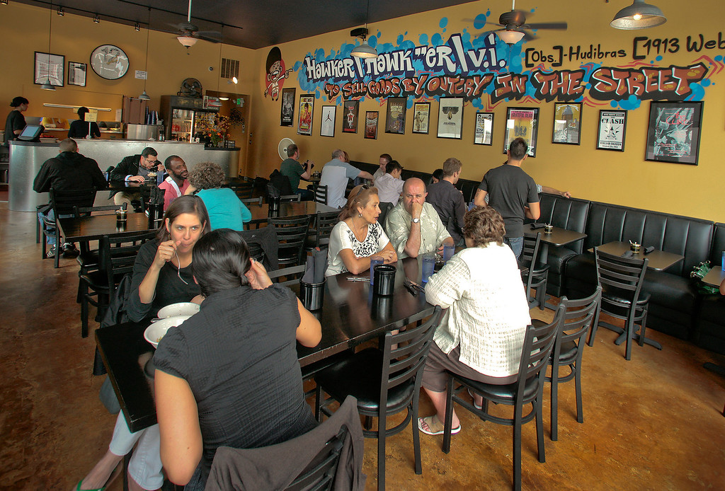 Diners enjoy lunch at Hawker Fare restaurant in Oakland, Calif., on July11th, 2011.