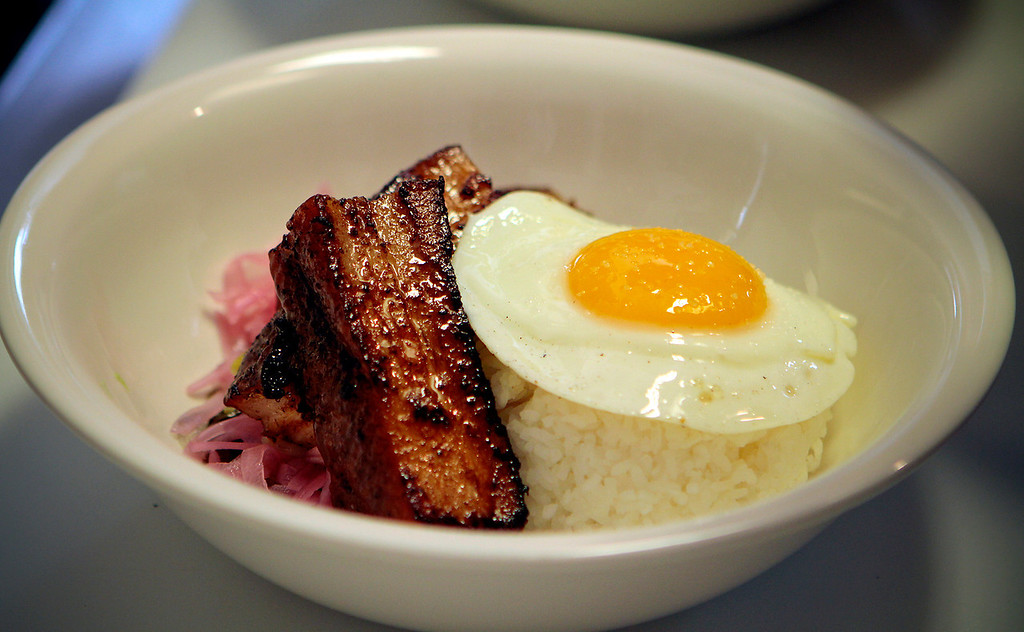 The 24hr Pork Belly with a fried egg at Hawker Fare restaurant in Oakland, Calif., is seen on July11th, 2011.