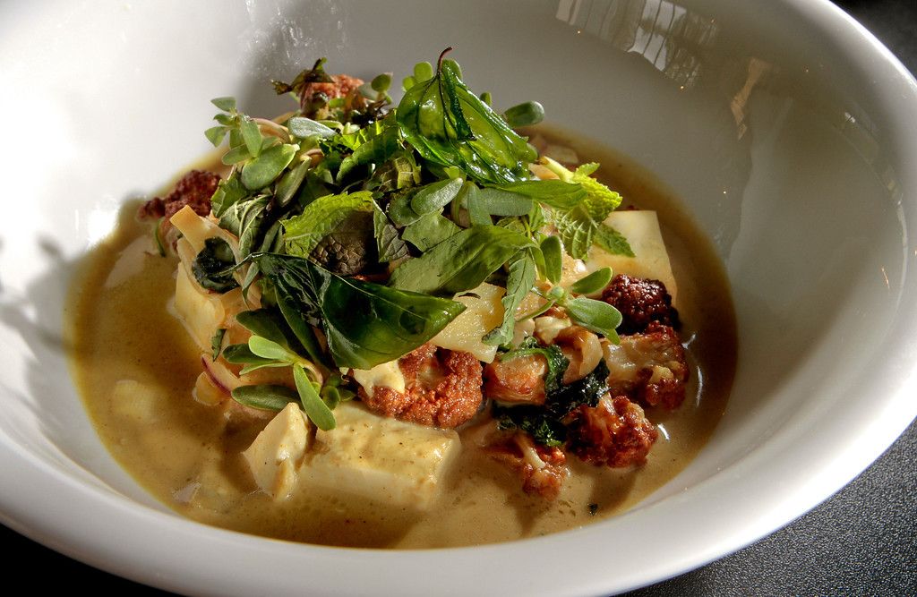 "The ""Vadouvan"" tofu at Hawker Fare restaurant in Oakland, Calif., is seen on July11th, 2011."