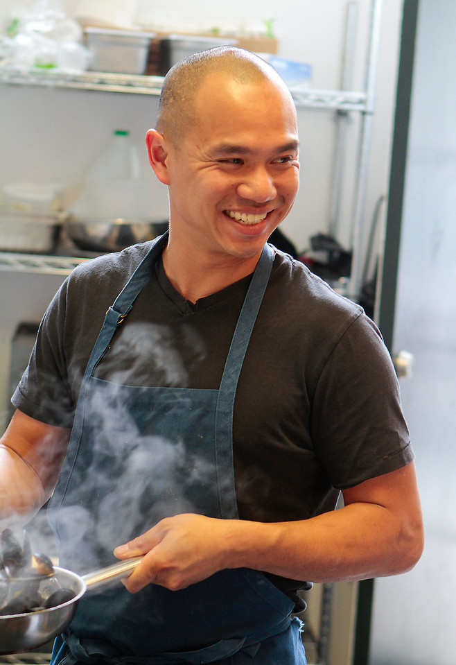 Chef James Syhabout cooking in the kitchen at Hawker Fare restaurant in Oakland, Calif., on July11th, 2011.