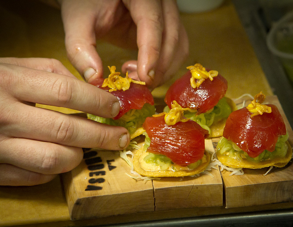 The Yellowfin Tuna Sashimi being assembled at La Condesa Restaurant in St. Helena, Calif., on Thursday, October 27,  2011.