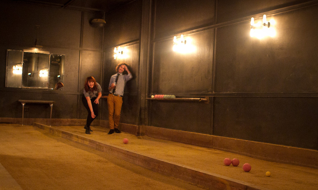 A couple plays Bocce ball at Make Westing bar in Oakland, Calif., on Tuesday, November 29, 2011.