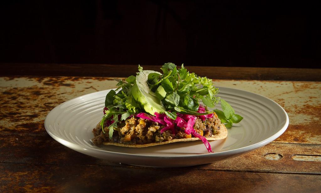 The ground beef Tostada at Mateo's Cocina Latina in Healdsburg, Calif.,  is seen on Friday, November 11,  2011.