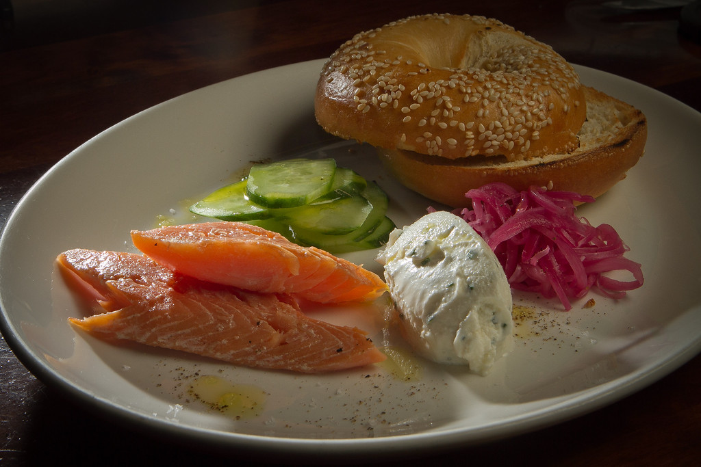 The Smoked Rainbow Trout with a Bagel and Farmers Cheese for brunch at Nopa in San Francisco, Calif., is seen on Sunday,  October 2, 2011.