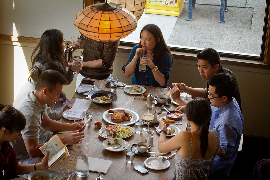 Diners enjoy brunch at Nopa in San Francisco, Calif., on Sunday,  October 2, 2011.