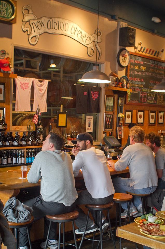 Diners enjoy pints of beer at the Russian River Brewing Company in Santa Rosa, Calif., on Saturday, November 4,  2011.