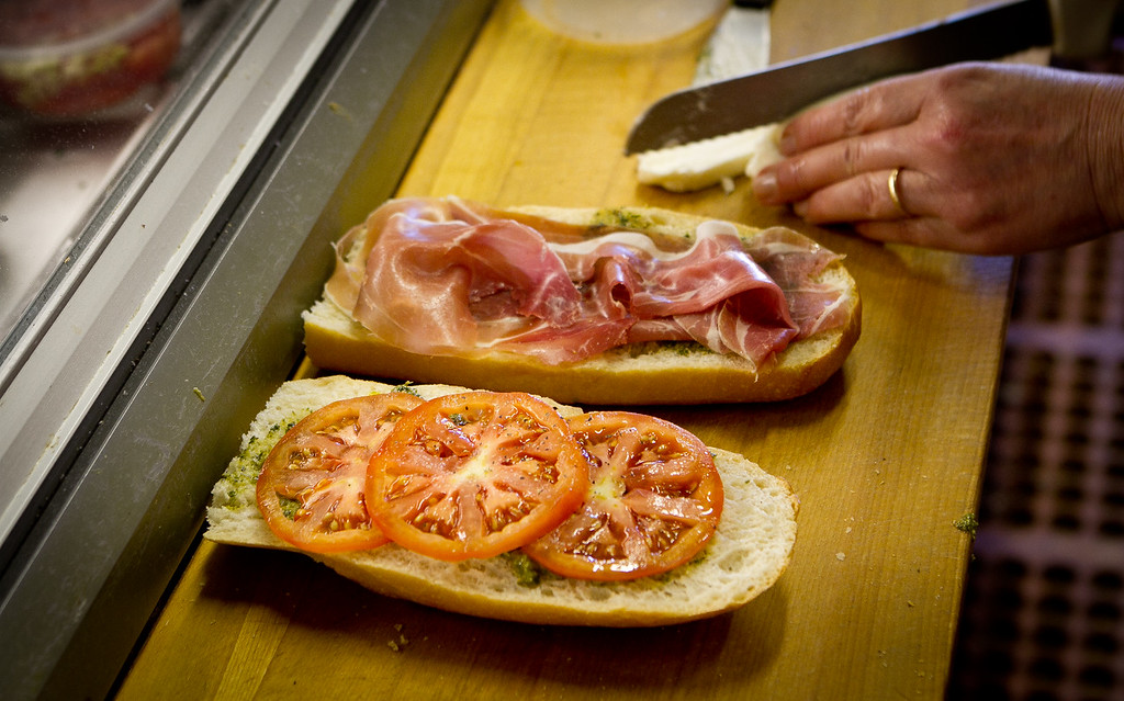 The Prosciutto sandwich being made at the Sausalito Gourmet Deli, Calif., Thursday, November 10,  2011.