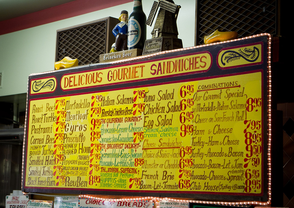 The menu at the Sausalito Gourmet Deli, Calif.,  is seen on Thursday, November 10,  2011.