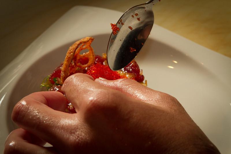 Chef Kuo Hwa Chuang plates the Hawaiian Style Poke at Seiya Restaurant in San Carlos, Calif., on September 22, 2011.