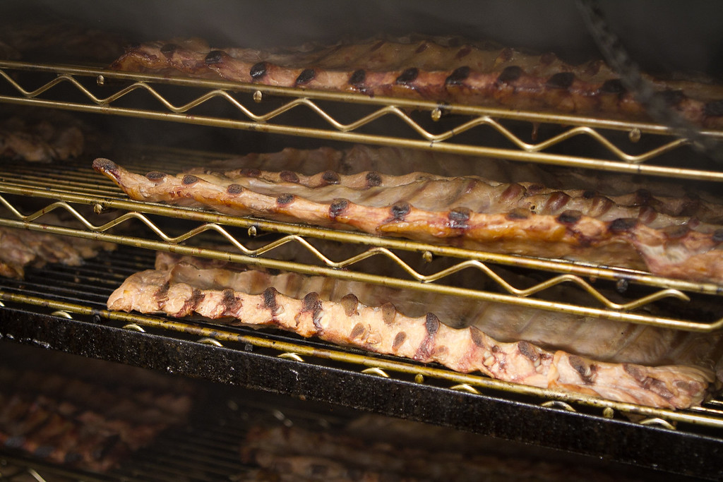 Ribs being smoked at the Southern Pacific Smokehouse in Novato, Calif., is seen on November 15th, 2011.