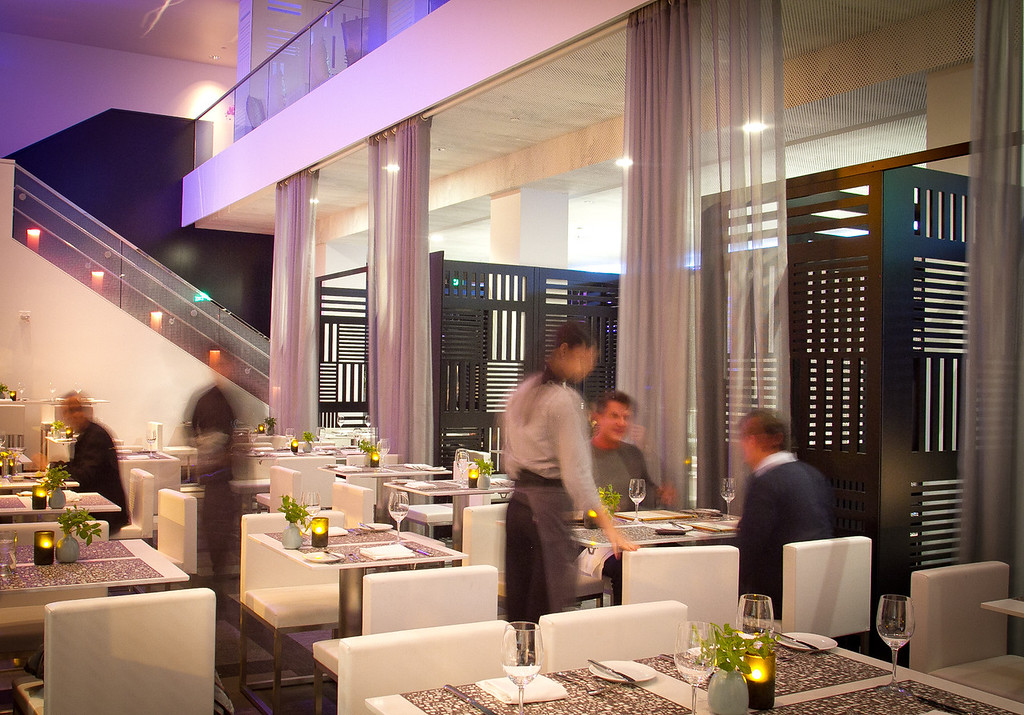 Diners enjoy dinner at Trace Restaurant in San Francisco, Calif.,  on Friday, November 4,  2011.