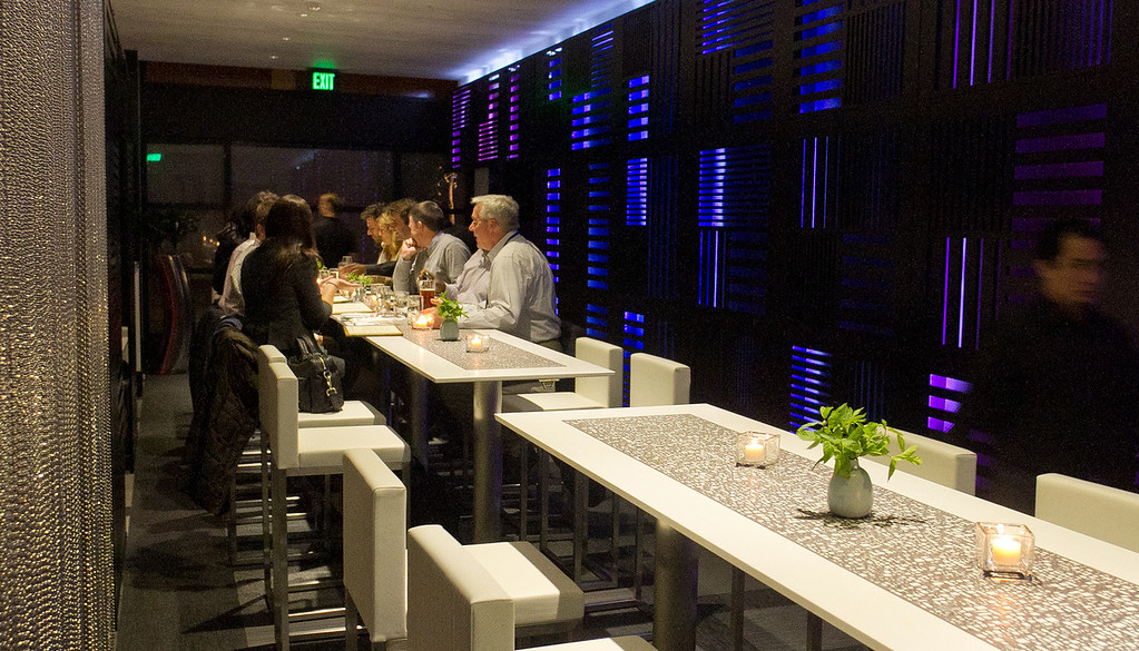 Diners enjoy dinner at Trace Restaurant in San Francisco, Calif.,  on Friday, November 4,  2011.