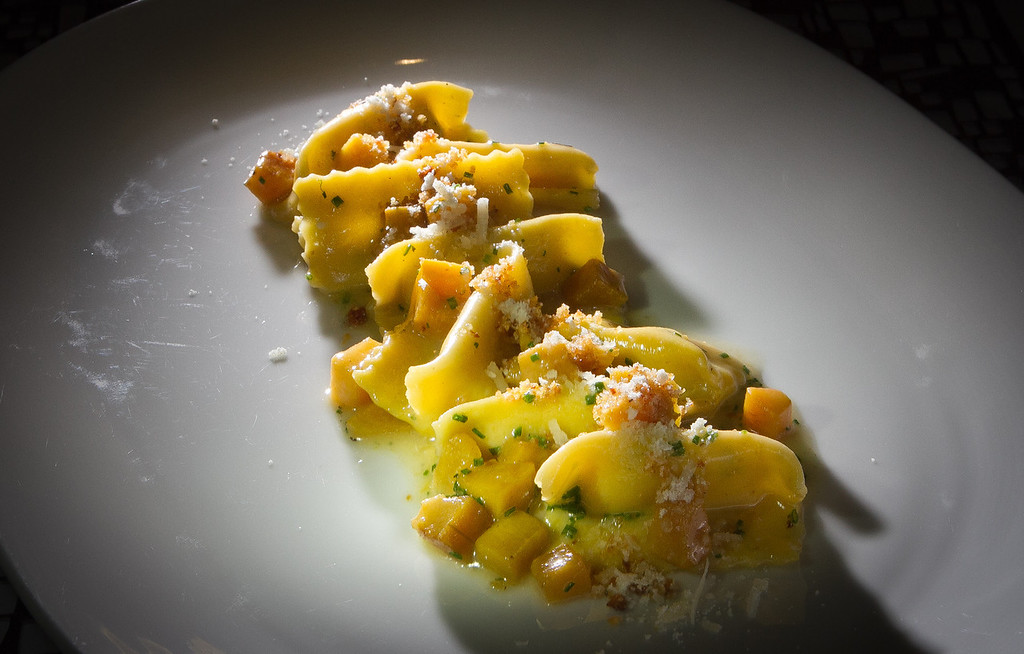 The Ricotta Agnolotti being plated at Trace Restaurant in San Francisco, Calif., is seen on Friday, November 4,  2011.