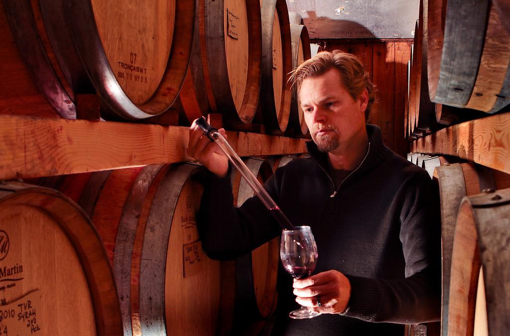 Winemaker Alex Davis of Porter Creek Winery at the winery in Healdsburg , Calif., is seen on Sunday, Dec. 5, 2010.