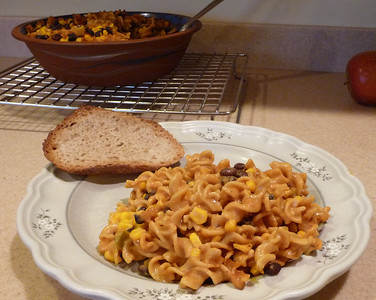 Fiesta Bake ....aka:  Jazzed up mac and cheese!!  This is from Everyday Happy Herbivore cookbook by Lindsay Nixon.  All her recipes are zero added fat and 100% delicious!!  If you use a gluten free pasta (like this one) instead of the whole wheat pasta, the dish will be GF.
