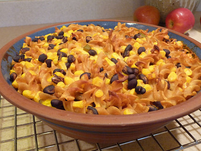 Fiesta Bake ....aka:  Jazzed up mac and cheese!!  This is from Everyday Happy Herbivore cookbook by Lindsay Nixon.  All her recipes are zero added fat and 100% delicious!!  If you use a gluten free pasta (like this one) instead of the whole wheat pasta, the dish will be GF.  See this photo for a picture of this dish plated up.