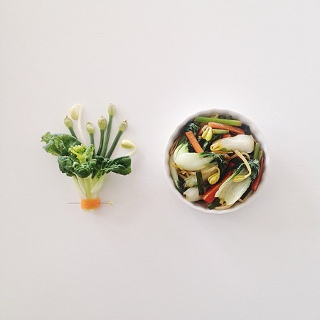 Chinese stir-fried vegetables made with bok choy, Chinese leeks, carrots and bean sprouts.