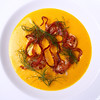 Seared Scallops with a Yellow Bell Pepper & Fennel Coulis topped with Crispy Bacon Strips and Fennel Fronds