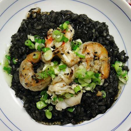Only in my kitchen -- will you find the requisite leftovers to make Squid Ink Risotto with Sauteed Shrimp & Lobster dressed with a Green Onion, Garlic, Honey Vinaigrette.