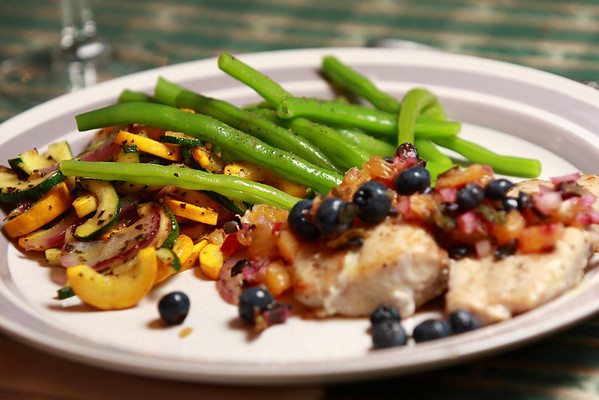 Tuesday, August 4 -- Grilled Salmon topped with Blueberry Salsa, Sauteed Summer Squash & Fresh Garden Green Beans.