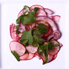 Wafer Thin Radish & Red Onion Slices with Cilantro lightly dressed with fresh squeezed Lime Juice.