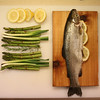 My mise en place -- Cedar Planked Rainbow Trout with Asparagus, Spring Onion, Rosemary & Lemon ready to go on the grill. . .