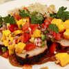 Grilled Lime & Honey Marinated Pork Tenderloin with Golden Mango-Jalapeno Salsa and a Toasted Almond Rice Pilaf.