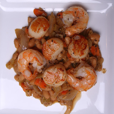 Pan seared Shrimp & Scallops with White Bean Cassoulet.