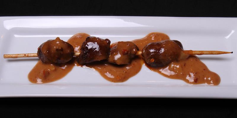 Offal Thanksgiving -- Amuse #3: Turkey Heart Sate with Thai Peanut Sauce