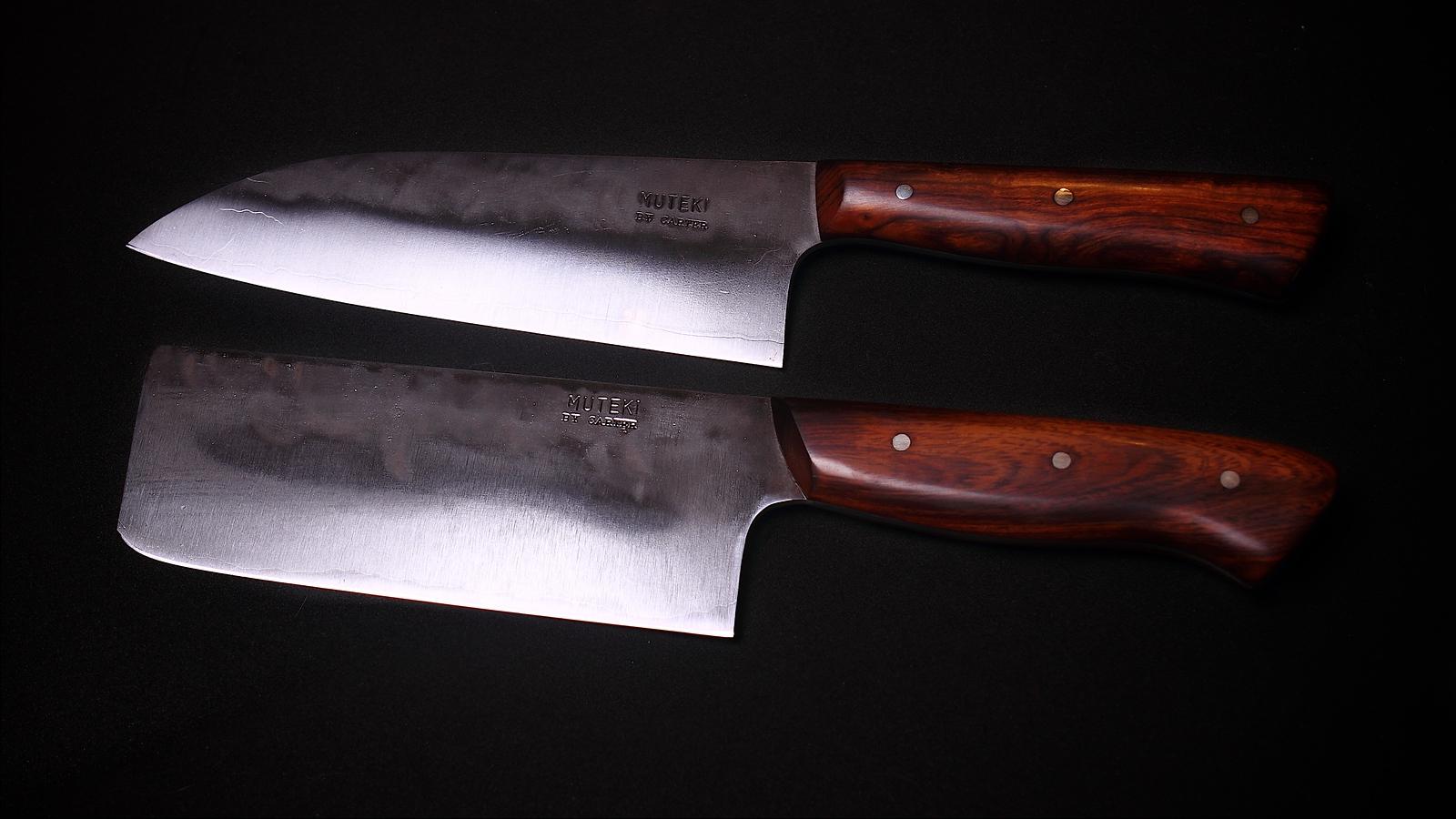 Hand forged knives from the Muteki series by Carter Cutlery, Top: 5.15 sun Wa-Bocho,; Bottom 4.49 sun Nakiri.