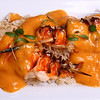 Grilled Spiny Lobster Kebabs with Brown Basmati Rice, Mango Curry Sauce & Micro Cilantro.